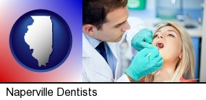 Naperville, Illinois - a dentist examining teeth