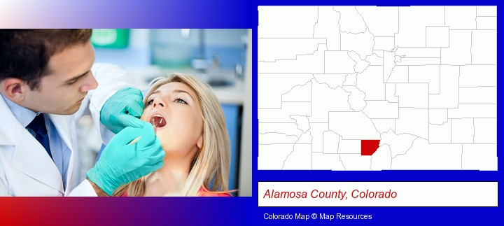 a dentist examining teeth; Alamosa County, Colorado highlighted in red on a map