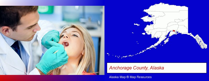 a dentist examining teeth; Anchorage County, Alaska highlighted in red on a map