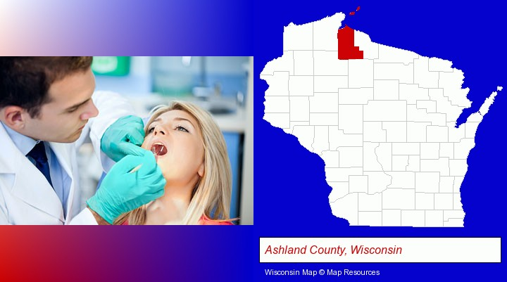 a dentist examining teeth; Ashland County, Wisconsin highlighted in red on a map