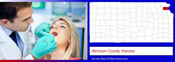 a dentist examining teeth; Atchison County, Kansas highlighted in red on a map