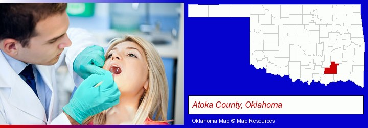 a dentist examining teeth; Atoka County, Oklahoma highlighted in red on a map