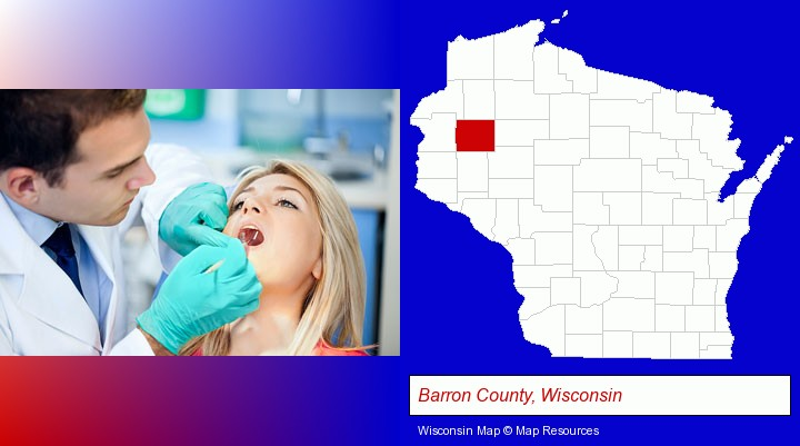 a dentist examining teeth; Barron County, Wisconsin highlighted in red on a map
