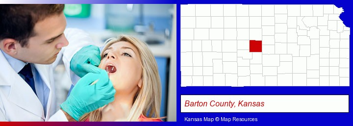 a dentist examining teeth; Barton County, Kansas highlighted in red on a map