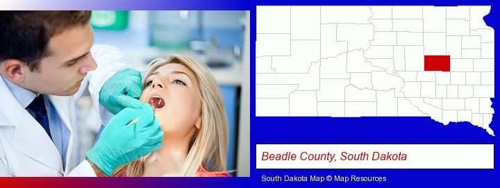 a dentist examining teeth; Beadle County, South Dakota highlighted in red on a map