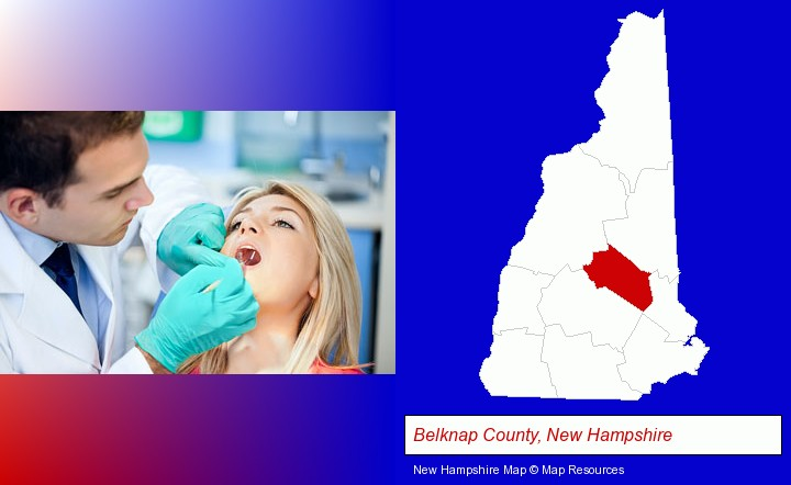 a dentist examining teeth; Belknap County, New Hampshire highlighted in red on a map