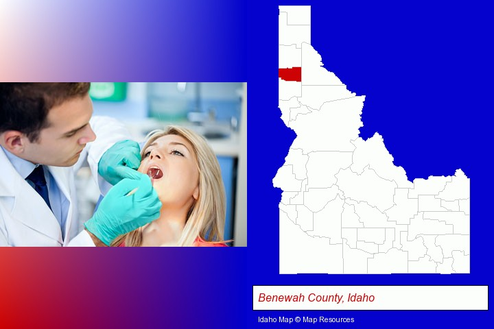 a dentist examining teeth; Benewah County, Idaho highlighted in red on a map