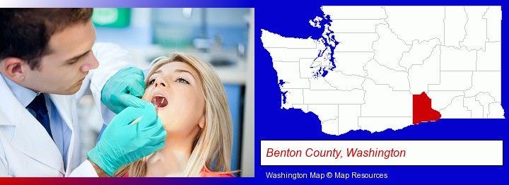 a dentist examining teeth; Benton County, Washington highlighted in red on a map