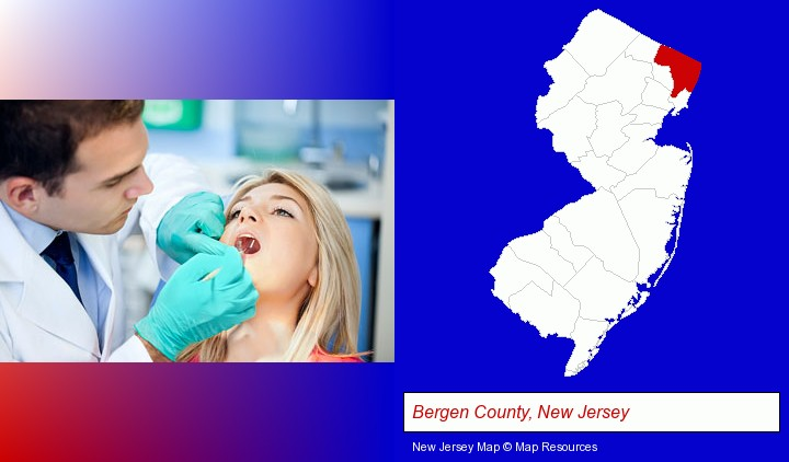 a dentist examining teeth; Bergen County, New Jersey highlighted in red on a map