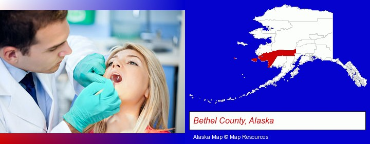 a dentist examining teeth; Bethel County, Alaska highlighted in red on a map