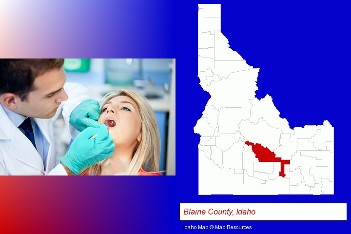 a dentist examining teeth; Blaine County, Idaho highlighted in red on a map