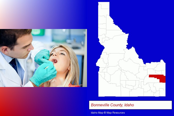 a dentist examining teeth; Bonneville County, Idaho highlighted in red on a map