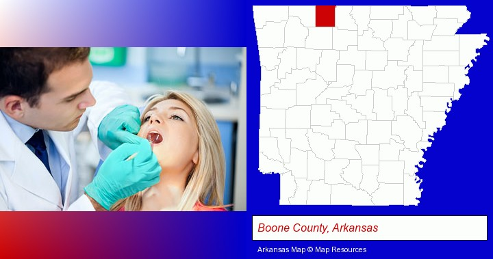 a dentist examining teeth; Boone County, Arkansas highlighted in red on a map