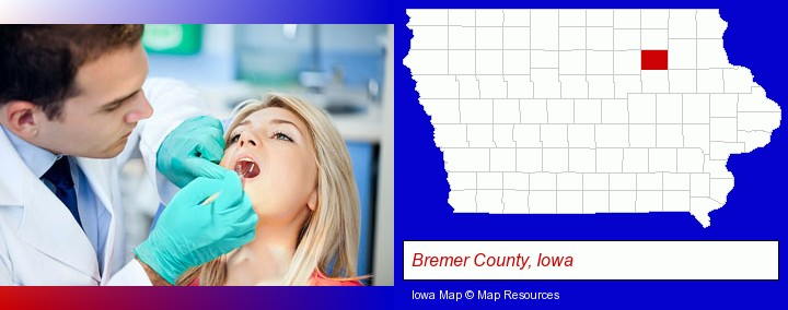 a dentist examining teeth; Bremer County, Iowa highlighted in red on a map