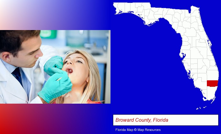 a dentist examining teeth; Broward County, Florida highlighted in red on a map