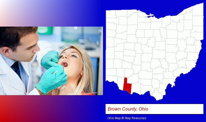 a dentist examining teeth; Brown County, Ohio highlighted in red on a map