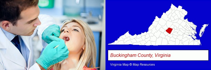 a dentist examining teeth; Buckingham County, Virginia highlighted in red on a map