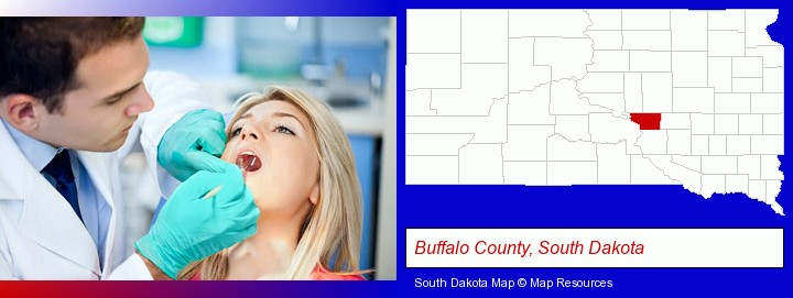 a dentist examining teeth; Buffalo County, South Dakota highlighted in red on a map