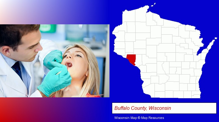 a dentist examining teeth; Buffalo County, Wisconsin highlighted in red on a map