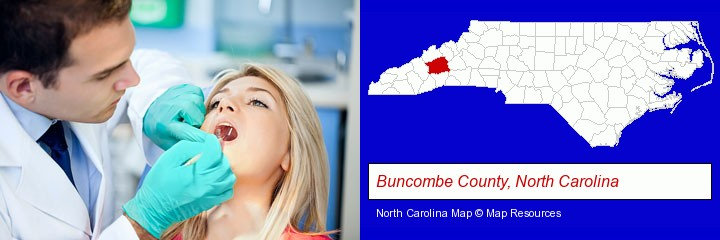 a dentist examining teeth; Buncombe County, North Carolina highlighted in red on a map