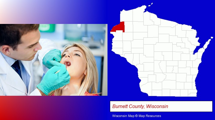 a dentist examining teeth; Burnett County, Wisconsin highlighted in red on a map