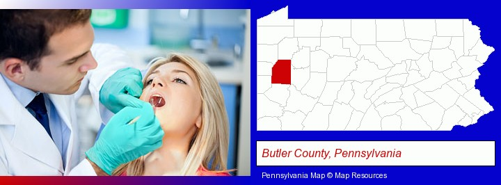 a dentist examining teeth; Butler County, Pennsylvania highlighted in red on a map