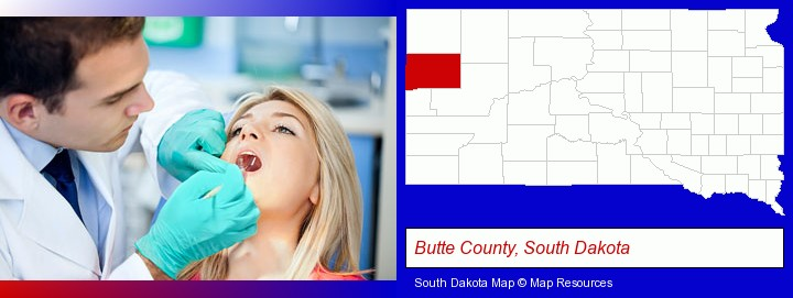 a dentist examining teeth; Butte County, South Dakota highlighted in red on a map