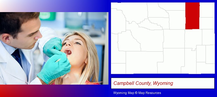 a dentist examining teeth; Campbell County, Wyoming highlighted in red on a map