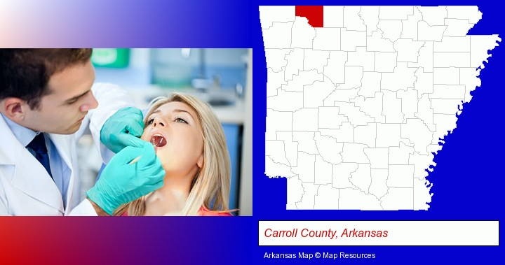 a dentist examining teeth; Carroll County, Arkansas highlighted in red on a map
