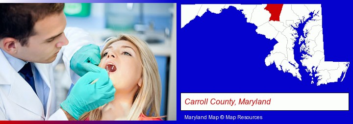 a dentist examining teeth; Carroll County, Maryland highlighted in red on a map