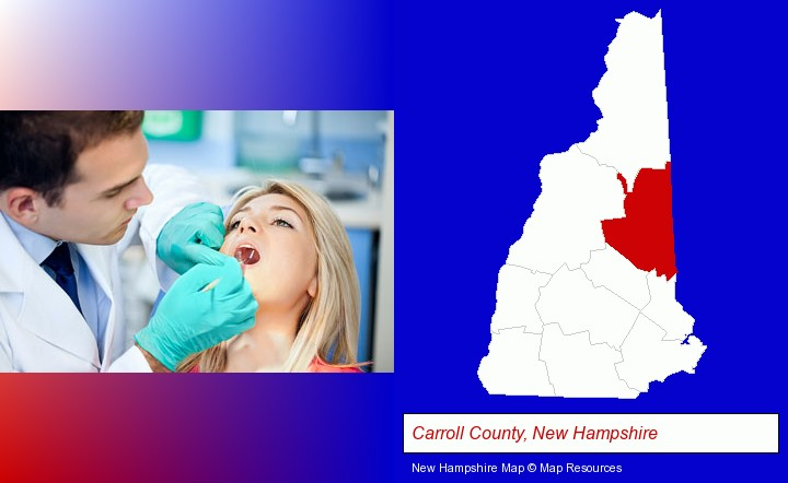 a dentist examining teeth; Carroll County, New Hampshire highlighted in red on a map