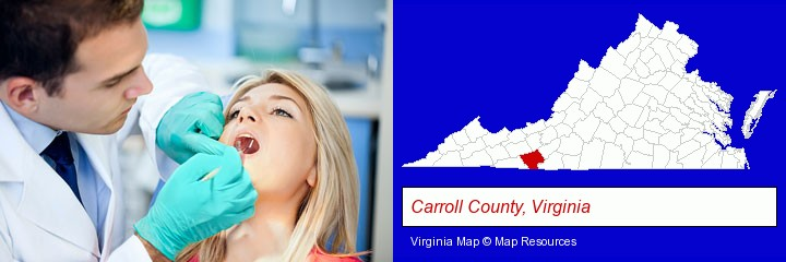 a dentist examining teeth; Carroll County, Virginia highlighted in red on a map