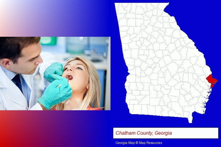 a dentist examining teeth; Chatham County, Georgia highlighted in red on a map