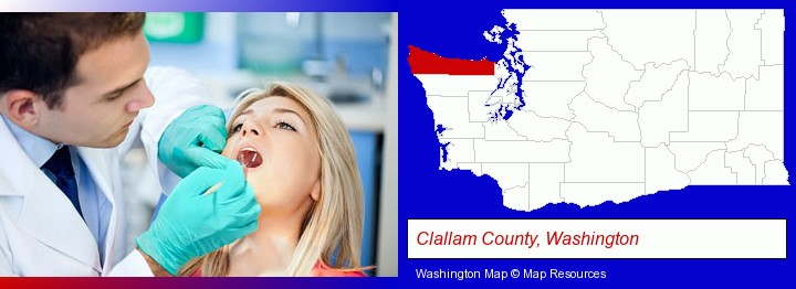 a dentist examining teeth; Clallam County, Washington highlighted in red on a map