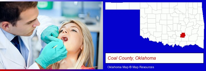 a dentist examining teeth; Coal County, Oklahoma highlighted in red on a map