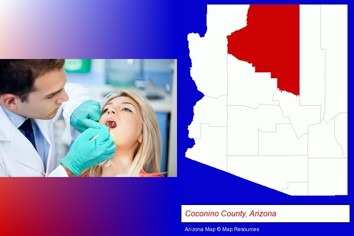 a dentist examining teeth; Coconino County, Arizona highlighted in red on a map