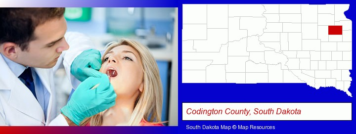 a dentist examining teeth; Codington County, South Dakota highlighted in red on a map