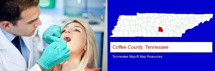 a dentist examining teeth; Coffee County, Tennessee highlighted in red on a map