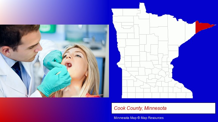a dentist examining teeth; Cook County, Minnesota highlighted in red on a map