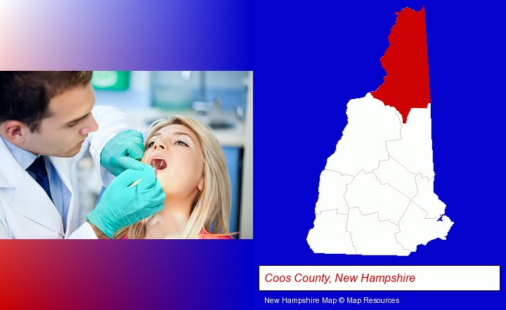 a dentist examining teeth; Coos County, New Hampshire highlighted in red on a map