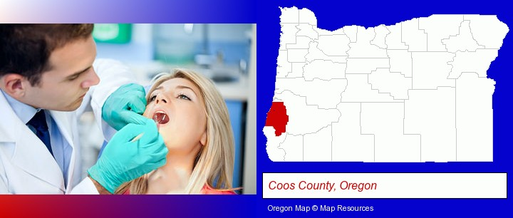 a dentist examining teeth; Coos County, Oregon highlighted in red on a map