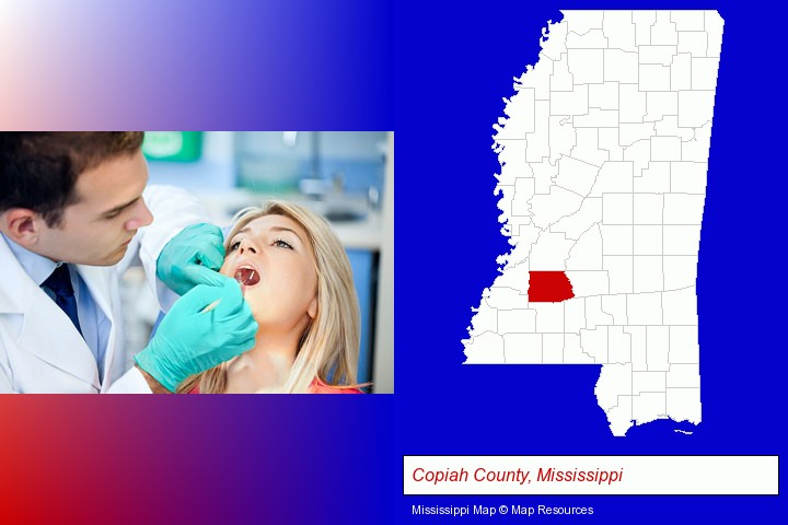 a dentist examining teeth; Copiah County, Mississippi highlighted in red on a map