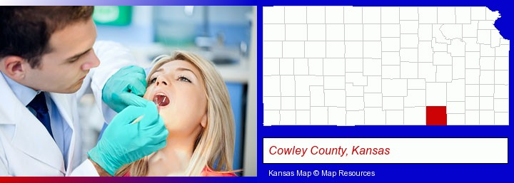 a dentist examining teeth; Cowley County, Kansas highlighted in red on a map