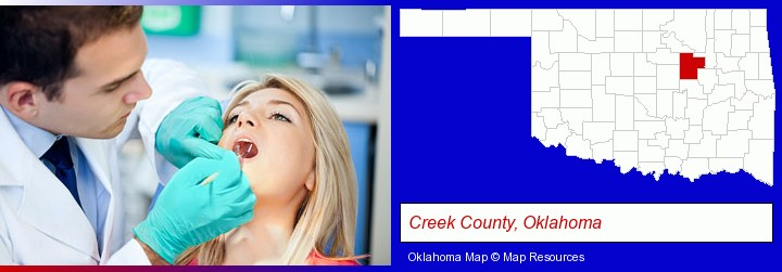 a dentist examining teeth; Creek County, Oklahoma highlighted in red on a map