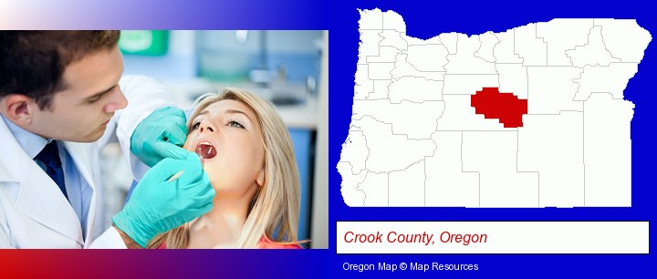 a dentist examining teeth; Crook County, Oregon highlighted in red on a map