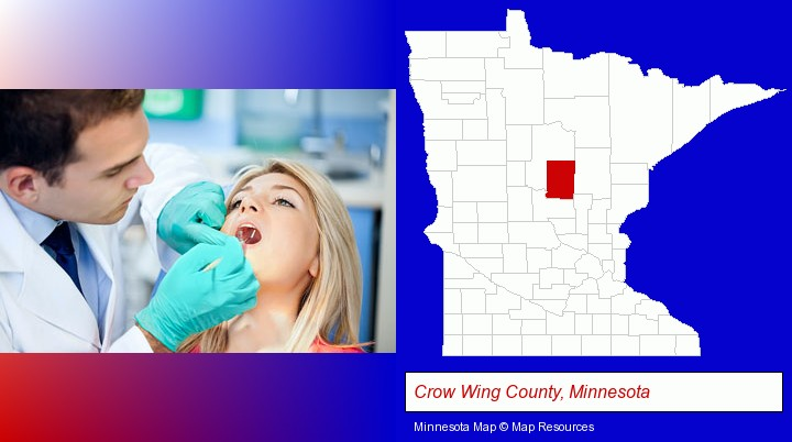 a dentist examining teeth; Crow Wing County, Minnesota highlighted in red on a map