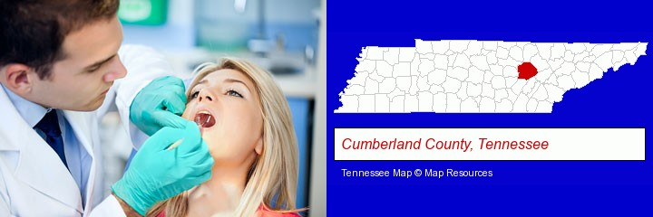 a dentist examining teeth; Cumberland County, Tennessee highlighted in red on a map