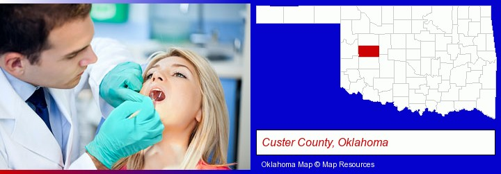 a dentist examining teeth; Custer County, Oklahoma highlighted in red on a map