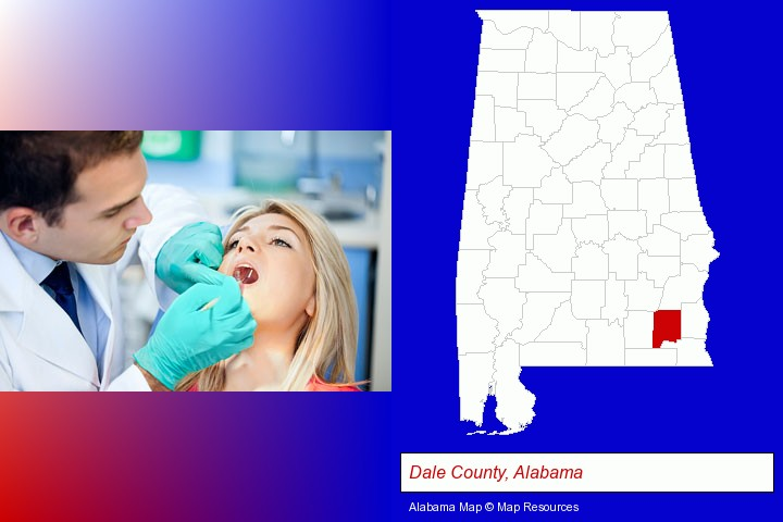 a dentist examining teeth; Dale County, Alabama highlighted in red on a map