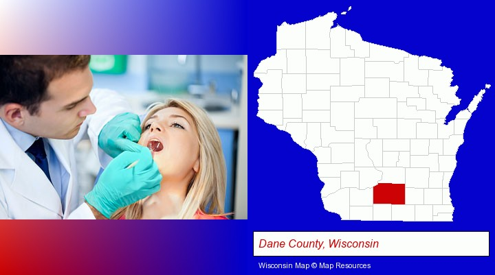 a dentist examining teeth; Dane County, Wisconsin highlighted in red on a map